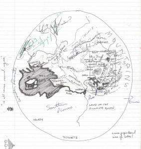 An early sketch representation of what later became the fastland of Kolcin.